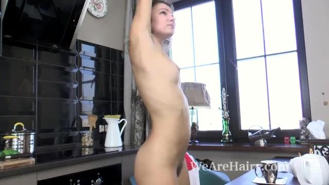 Japanese asian porn in the kitchen Simona strips and masturbates in kitchen