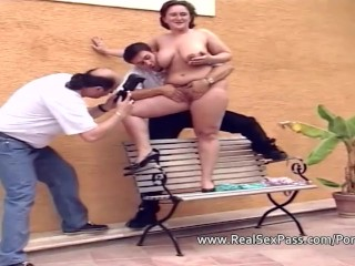 Shy nervous BBW is photographed and played with by two men