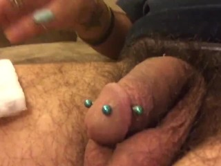 Me cleaning of my piercings and showing off my cock