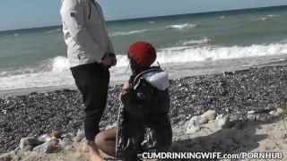 Slutwife Marion gangbanged by strangers on public beaches