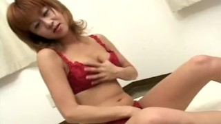 Asian seductress in red lingerie toy fucks