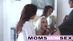 Hot threesome for stepmom and young schoolgirl