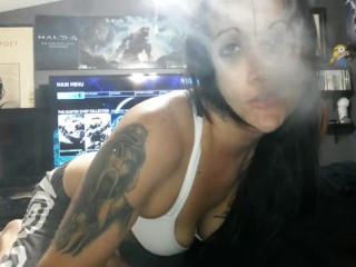 I swallow his cum and vape a huge cloud into the camera with kisses