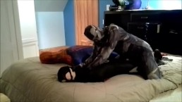 Wetsuited spiderman verses rubbery orca