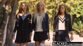 BLACKED Preppy Girl Threesome Get Three BBCs White interracial