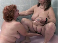 Fat lesbian mature women eating each other's pussies in the bathroom