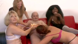Four hot horny sluts reverse gangbang a really lucky grampa