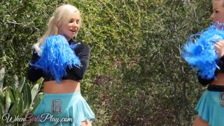 Hot girls lesbian cheerleaders play when shaved twistys