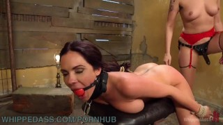 Broke Waitress Submits To Lesbian Landlord  strapon bdsm punish maid whippedass blonde lezdom skinny milf bound kink lesbian gagged brunette rope bondage natural tits girl on girl fake tits