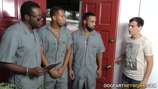 Sara Jay gets ganbanged by black dudes in front of her son Riding pussy