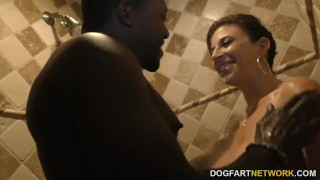 Sara Jay gets ganbanged by black dudes in front of her son Babe bald