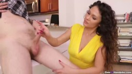 Naughty step-mom handjob