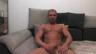 muscle jock shoots load on cam Men mature