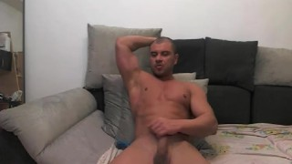 muscle jock shoots load on cam Lube off