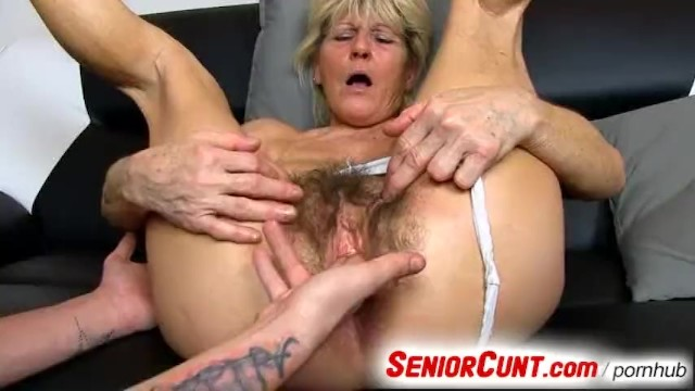 Old grandma cunt - Old hairy vagina of grandma hana fingered with 3 fingers