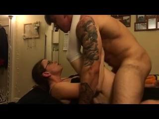 Muscular boyfriend pounds nerdy schoolgirl with perfect ass