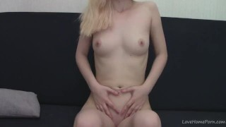 Teen blonde fingering and recording herself