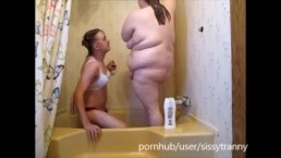 Two hot step sissters showering with pussy eating &sex with creampie orgasm