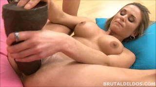Brutal fucks busty in deep babe huge in her a pussy brown dildo blonde hd solo toys