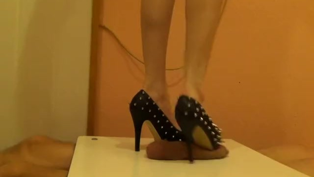 High heels on the table for cock and balls 4