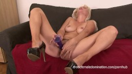 Cougar with a hairy pussy masturbates and gets fucked good