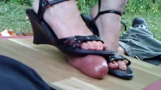 Wedges footjob Amateur pov - cockcrushing in wedge boots 1