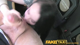 Gets in lady faketaxi creampied stockings ass blowjob