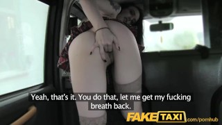 FakeTaxi lady in stockings gets creampied Fuck boobs
