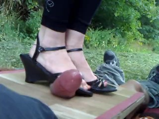 Amateur POV - Cockcrushing In Wedge Boots 2