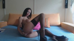 MiaMaxxx is riding a dildo, fingering her ass.