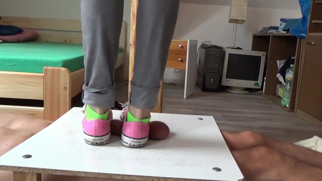 Dick button jumps - No mercy sneakers cockcrushing. jump stomp trample full weight on cock ball