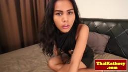 Tugging asian tgirl cumming during solo fun