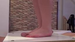 Bafe Feet Cock and balls trampling massage with big cumshot under foot