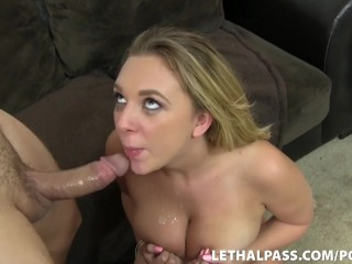 Busty Blonde Teen Gets Her Throat Fucked!