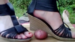 Wedge crushing cock and balls - POV