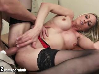 New Guy Fucks His Horny MILF Boss Until She Squirts! - WANKZ