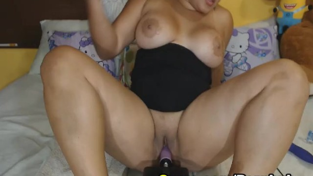 Busty Babe Fucks Herself with Dildo Machine