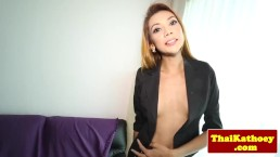 Naughty ladyboy stripping before wanking