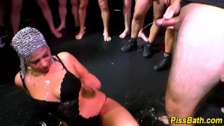 Group whore urine guzzles bizarre pissdrinking