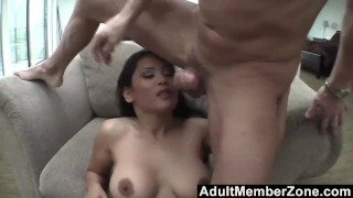 Screen Capture of Video Titled: AdultMemberZone - Jessica Bangkok Banged On the Couch