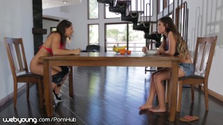 Lesbian Step-Sisters Better Not get Caught by Dad! Masturbate tits