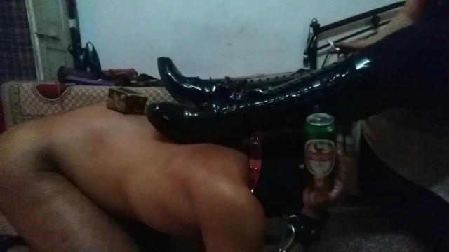 Vintage vaseline glass candle holders - Mistress makali uses a slave as a foot stool and a bottle holder