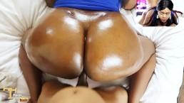 Ebony geglazuurde donutkont wordt GENAAID - Naakte facial / hardcore seks
