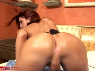 Preview 6 of Small cock tranny shows off her massive bigtits in leather