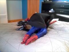 black spandex verses spiderman