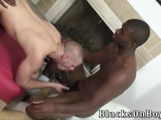 Muscular white stud getting shared by black thugs