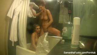 Lesbian shower fun with Samantha Saint and Jayden Cole