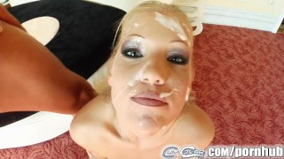 Cum For Cover Cum shower covers sexy blondes face