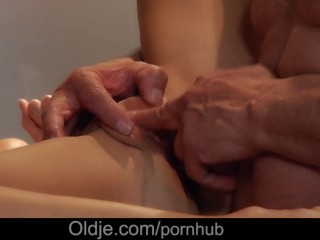 Sexy slender girl ride wildly his old husband in reverse cowgirl position