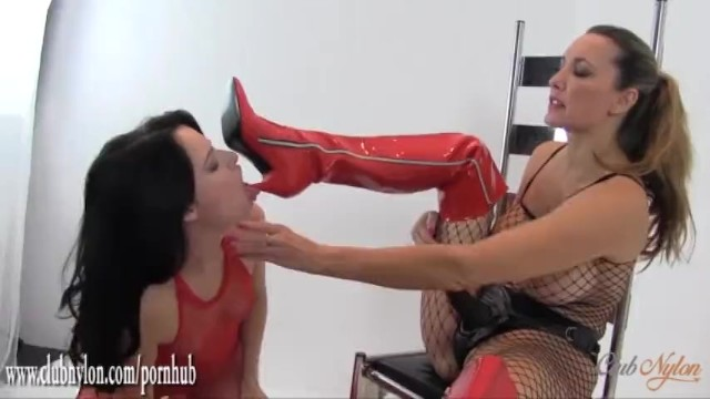 Lezdom sponsored by strapon lesbians - Horny babe in nylon body suit licks lezdoms boots and fucks big strapon